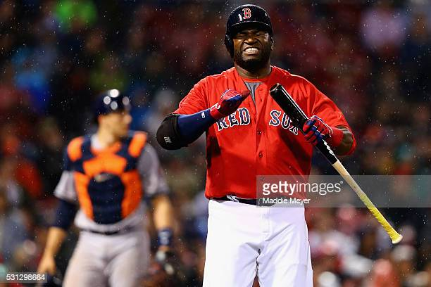 David Ortiz of the Boston Red Sox reacts after striking out during the seventh inning against the Houston Astros on May 13, 2016 in Boston,...