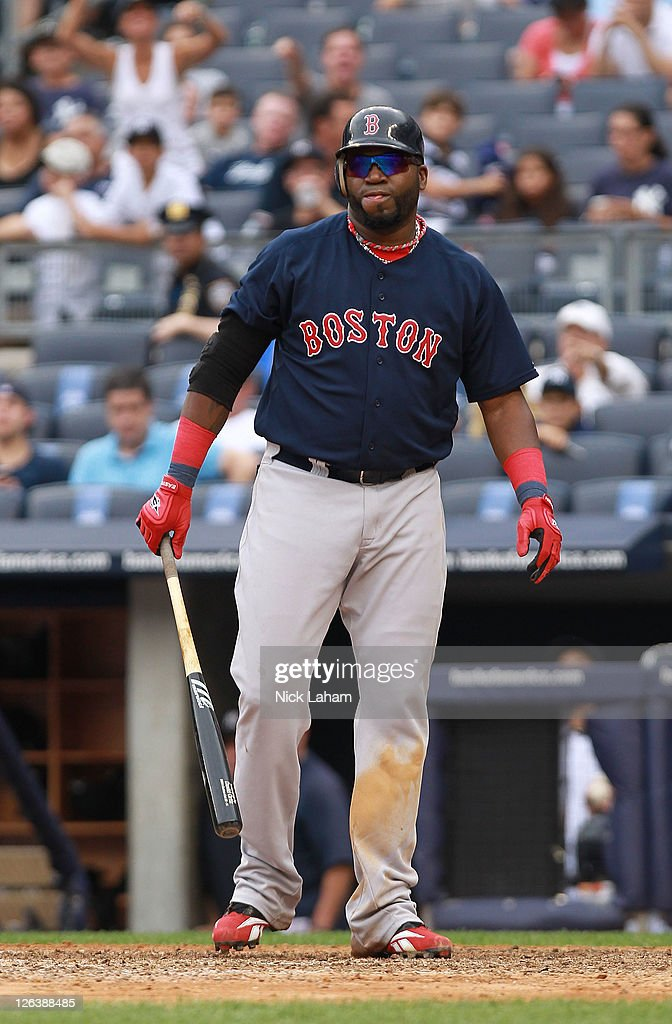 David Ortiz #34 of the Boston Red Sox reacts after striking out in the ninth inning against the New York Yankees on September 25, 2011 at Yankee Stadium in the Bronx borough of New York City.