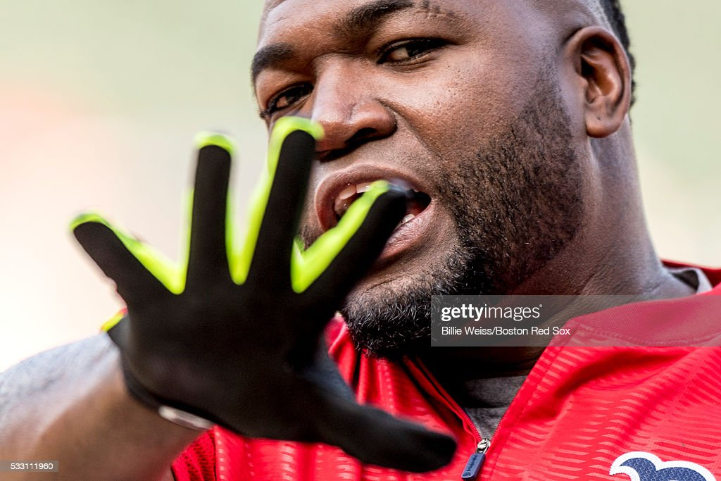 David Ortiz #34 of the Boston Red Sox reacts before a game against the Cleveland Indians on May 20, 2016 at Fenway Park in Boston, Massachusetts.