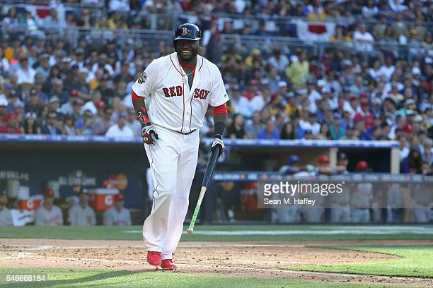 David Ortiz of the Boston Red Sox reacts during the 87th Annual MLB AllStar Game at PETCO Park on July 12 2016 in San Diego California