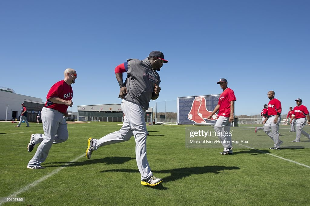 David Ortiz #34 of the Boston Red Sox runs during a Spring Training workout at Fenway South on February 18, 2014 in Fort Myers, Florida.