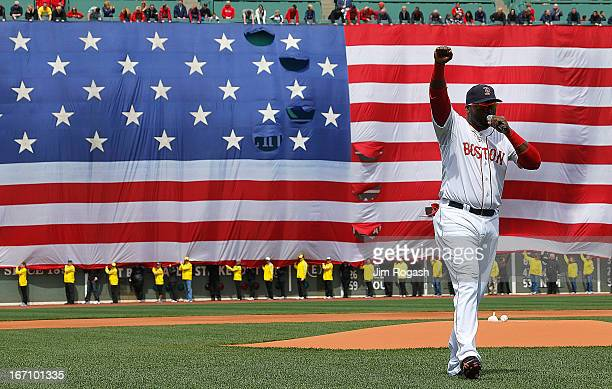 David Ortiz of the Boston Red Sox speaks during a pre-game ceremony in honor of the bombings of Marathon Monday before a game at Fenway Park on April...