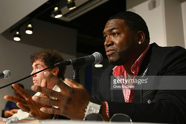 David Ortiz of the Boston Red Sox speaks to the media regarding his positive test for a performance enhancing substance as part of the 2003 Survey...