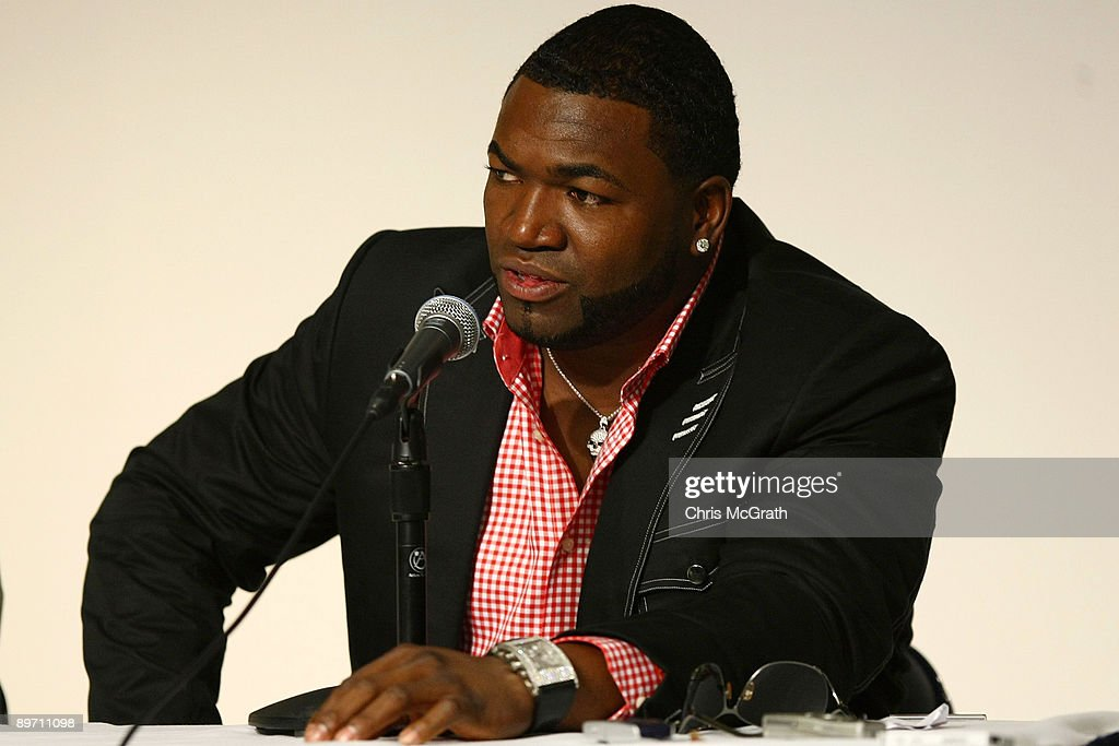 David Ortiz of the Boston Red Sox speaks to the media regarding his positive test for a performance enhancing substance as part of the 2003 Survey Test during a press conference at Yankee Stadium on August 8, 2009 in the Bronx borough of New York City.