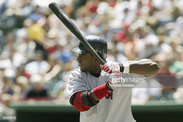 David Ortiz of the Boston Red Sox stands at bat during the game against the Texas Rangers at the Ballpark in Arlington on April 24 2003 in Arlington...