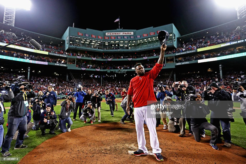 David Ortiz #34 of the Boston Red Sox tips his cap after the Cleveland Indians defeated the Boston Red Sox 4-3 in game three of the American League Divison Series to advance to the American League Championship Series at Fenway Park on October 10, 2016 in Boston, Massachusetts.