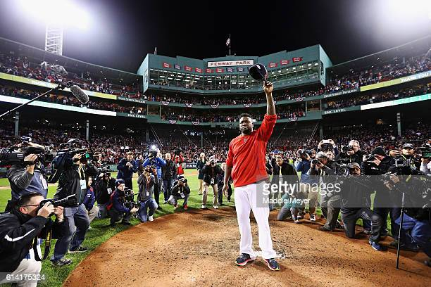 David Ortiz of the Boston Red Sox tips his cap after the Cleveland Indians defeated the Boston Red Sox 4-3 in game three of the American League...