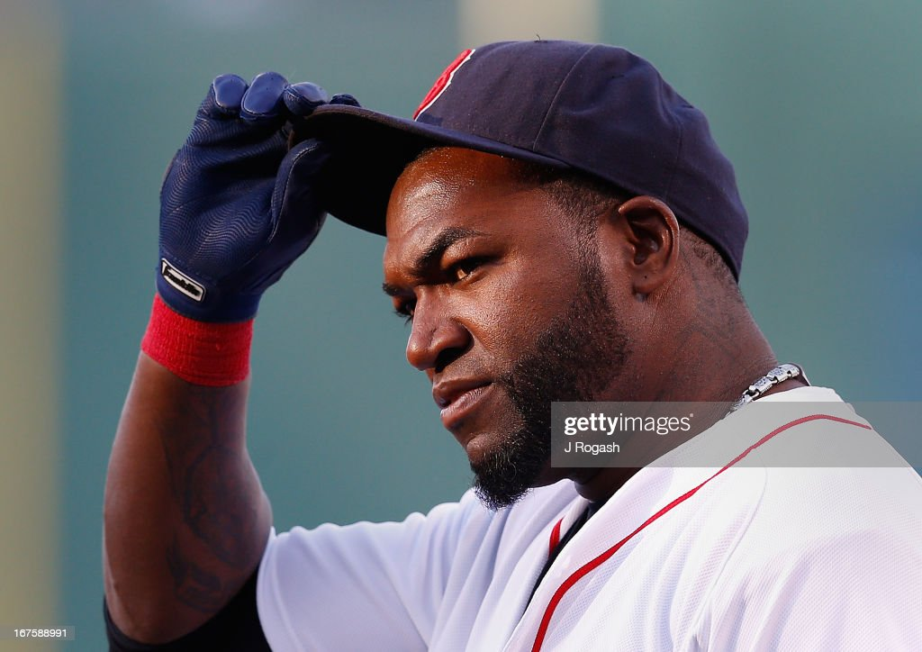 David Ortiz #34 of the Boston Red Sox tips his cap before a game with the Houston Astros at Fenway Park on April 25, 2013 in Boston, Massachusetts.