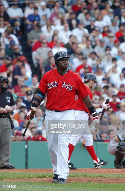 David Ortiz of the Boston Red Sox walks to the dugout after striking out against Wade Miller of the Houston Astros in the second inning of the...