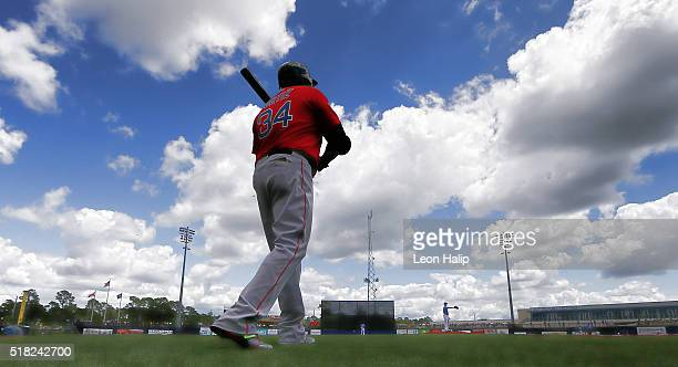 David Ortiz of the Boston Red Sox walks to the plate during the second inning of the Spring Training Game against the Tampa Bay Rays on March 30 2016...