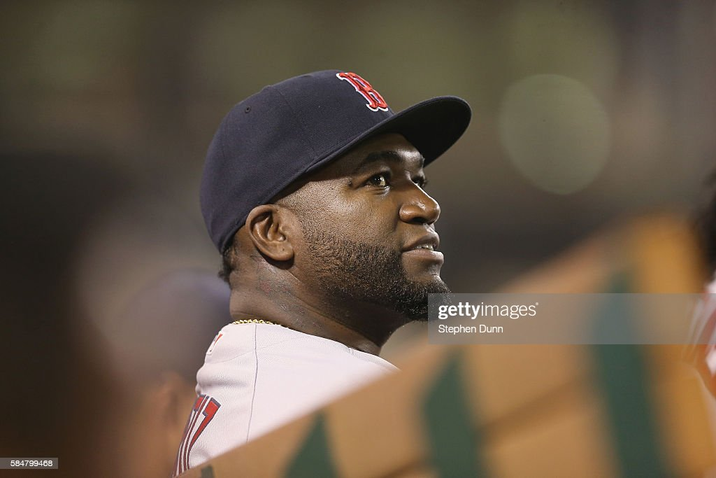 David Ortiz #34 of the Boston Red Sox watches from the dugout as he sits out the game against the Los Angeles Angels of Anaheim at Angel Stadium of Anaheim on July 30, 2016 in Anaheim, California. The Angels won 5-2.
