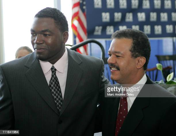 David Ortiz of the Boston Red Sox with Leonel Fernandez President of the Dominican Republic who received an honorary degree Doctor of Laws during the...