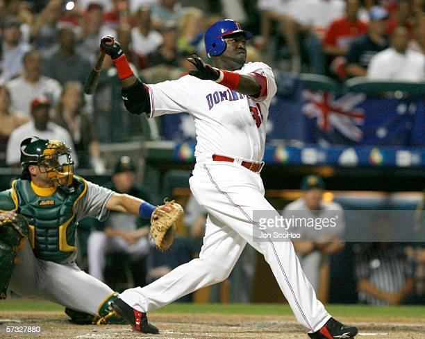 David Ortiz of the Dominican Republic bats during the game against Australia on March 10, 2006 at The Ballpark at Disney's Wide World of Sports in...