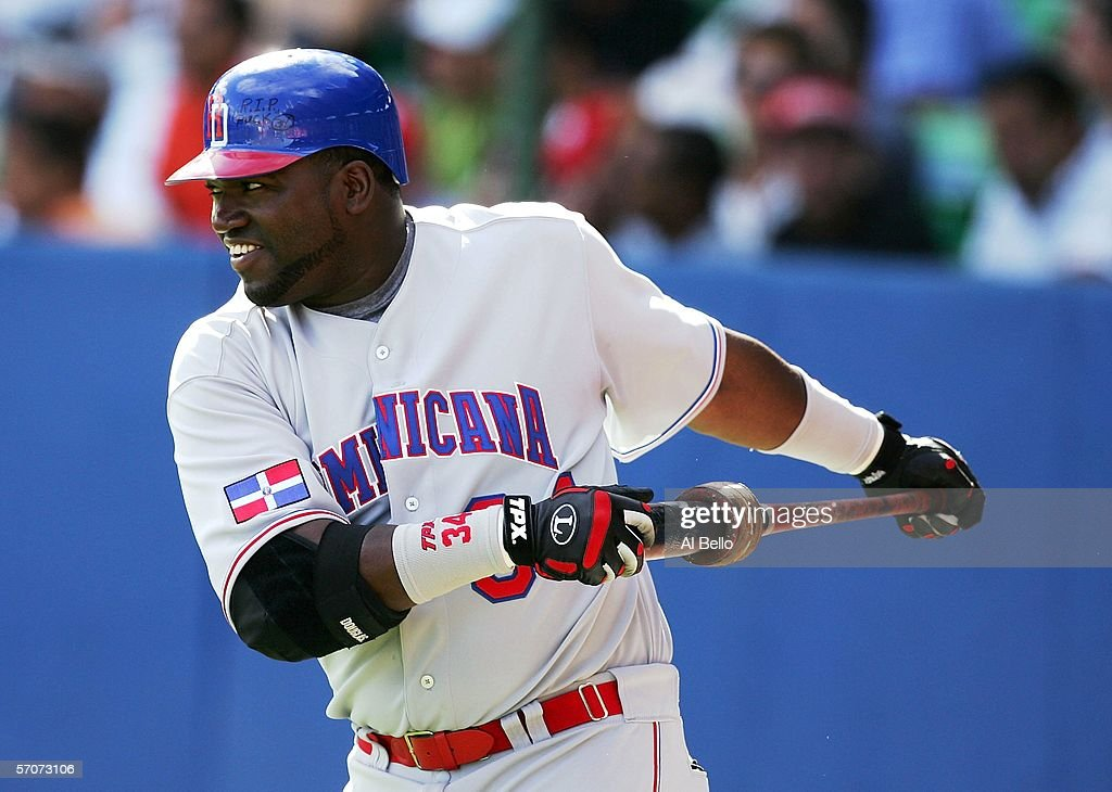 David Ortiz #34 of the Dominican Republic stretches before his at bat against Cuba during Round 2 of the World Baseball Classic on March 13, 2006 at Hiram Bithorn Stadium in San Juan, Puerto Rico.