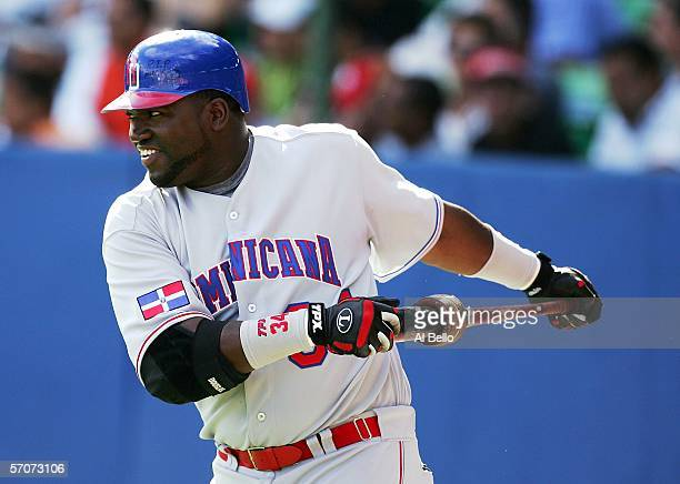 David Ortiz of the Dominican Republic stretches before his at bat against Cuba during Round 2 of the World Baseball Classic on March 13 2006 at Hiram...
