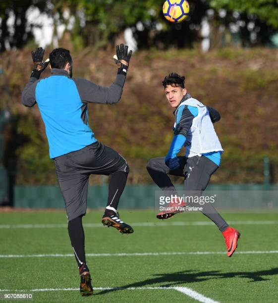 David Ospina and Alexis Sanchez of Arsenal during a training session at London Colney on January 19 2018 in St Albans England