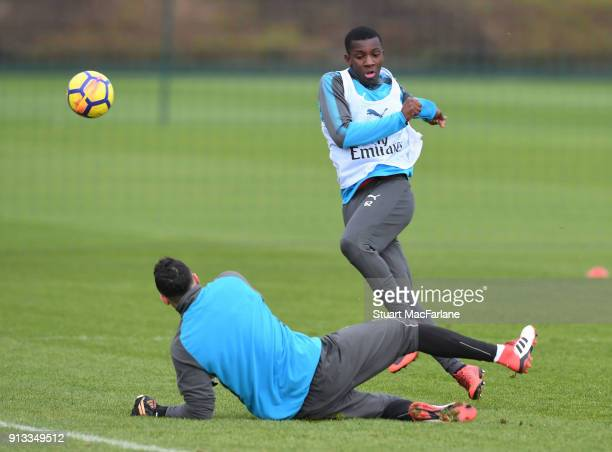 David Ospina and Eddie Nketiah of Arsenal during a training session at London Colney on February 2 2018 in St Albans England