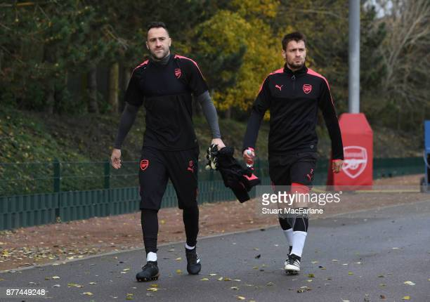 David Ospina and Mathieu Debuchy of Arsenal during a training session at London Colney on November 22 2017 in St Albans England