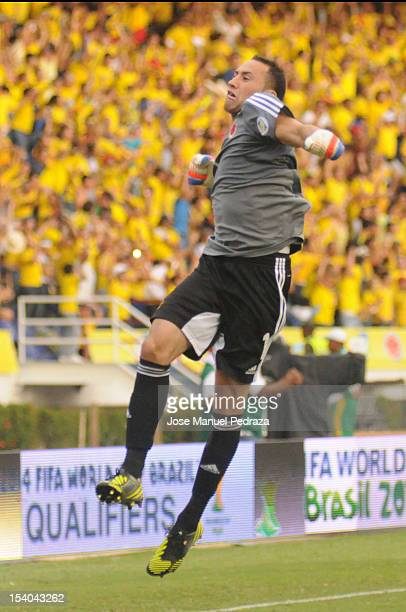 David Ospina, goalkeeper of Colombia celebrates the first goal of Colombia during the match between Colombia and Paraguay as part of the South...