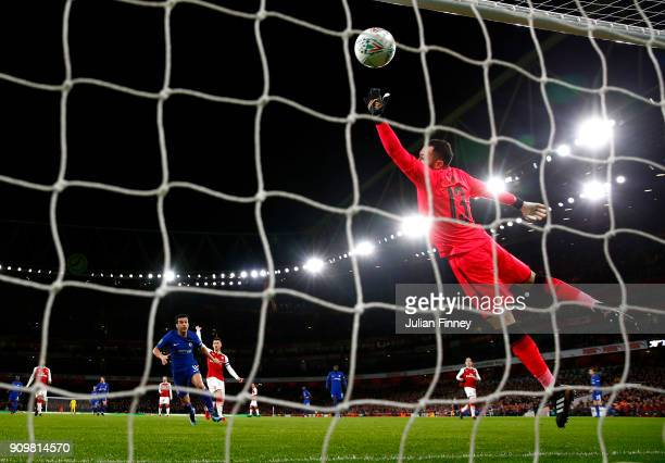 David Ospina of Arsenal attempts to save as Pedro of Chelsea scoeres a goal which is later dissalowed due to VAR during the Carabao Cup SemiFinal...