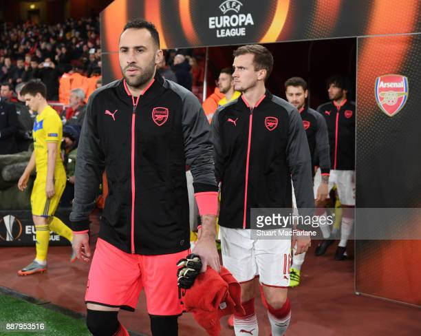 David Ospina of Arsenal before the UEFA Europa League group H match between Arsenal FC and BATE Borisov at Emirates Stadium on December 7 2017 in...