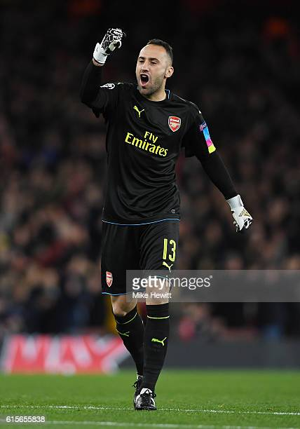 David Ospina of Arsenal celebrates after Alexis Sanchez of Arsenal scores the opening goal during the UEFA Champions League group A match between...