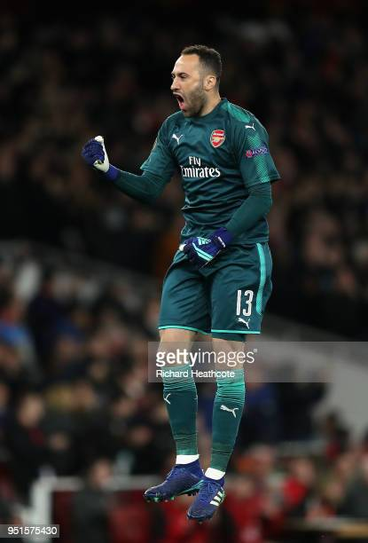 David Ospina of Arsenal celebrates after his side score their first goal during the UEFA Europa League Semi Final leg one match between Arsenal FC...