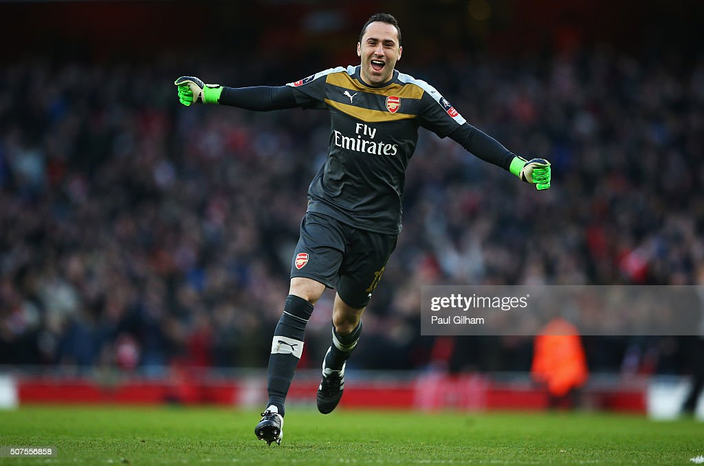 David Ospina of Arsenal celebrates his team's second goal during the Emirates FA Cup Fourth Round match between Arsenal and Burnley at Emirates Stadium on January 30, 2016 in London, England.