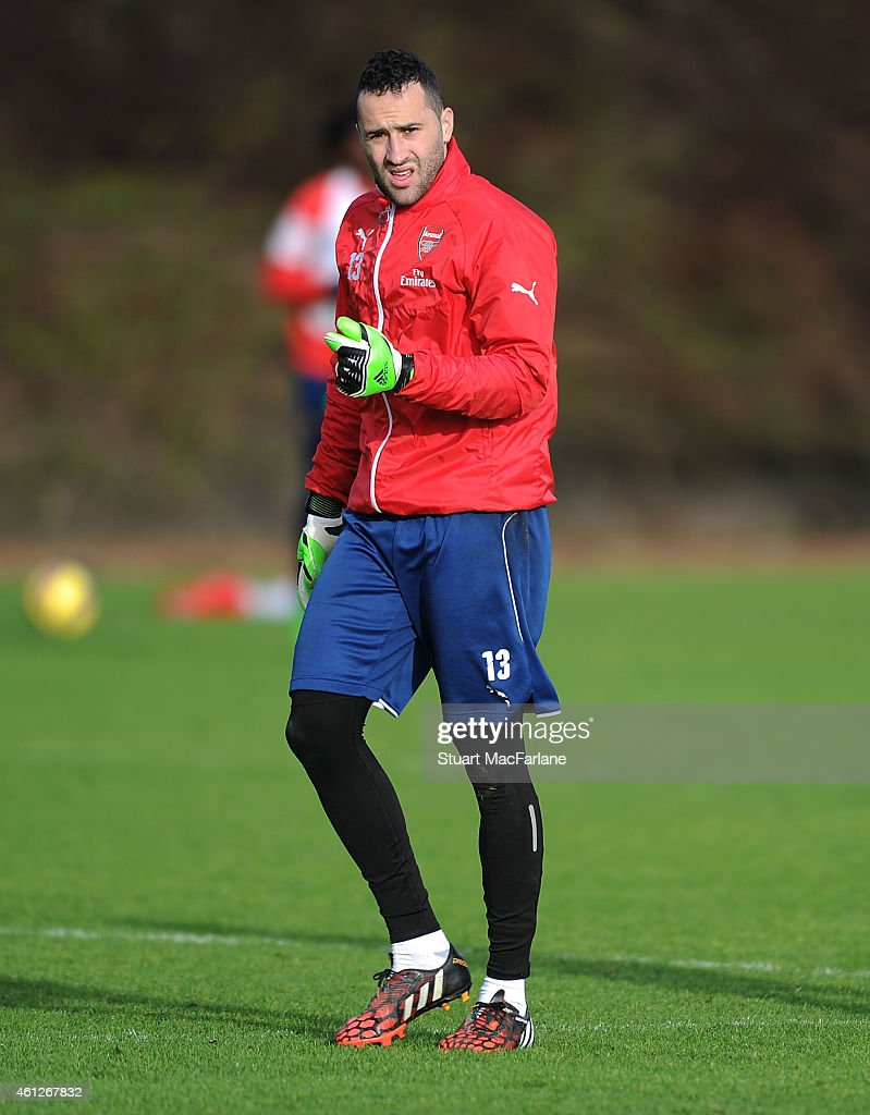 David Ospina of Arsenal during a training session at London Colney on January 10, 2015 in St Albans, England.