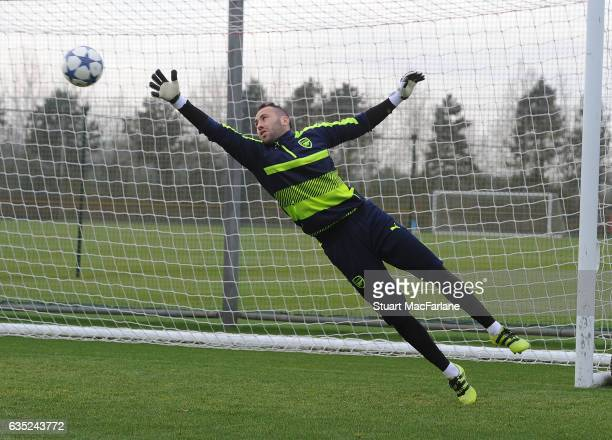 David Ospina of Arsenal during a training session at London Colney on February 13, 2017 in St Albans, England.