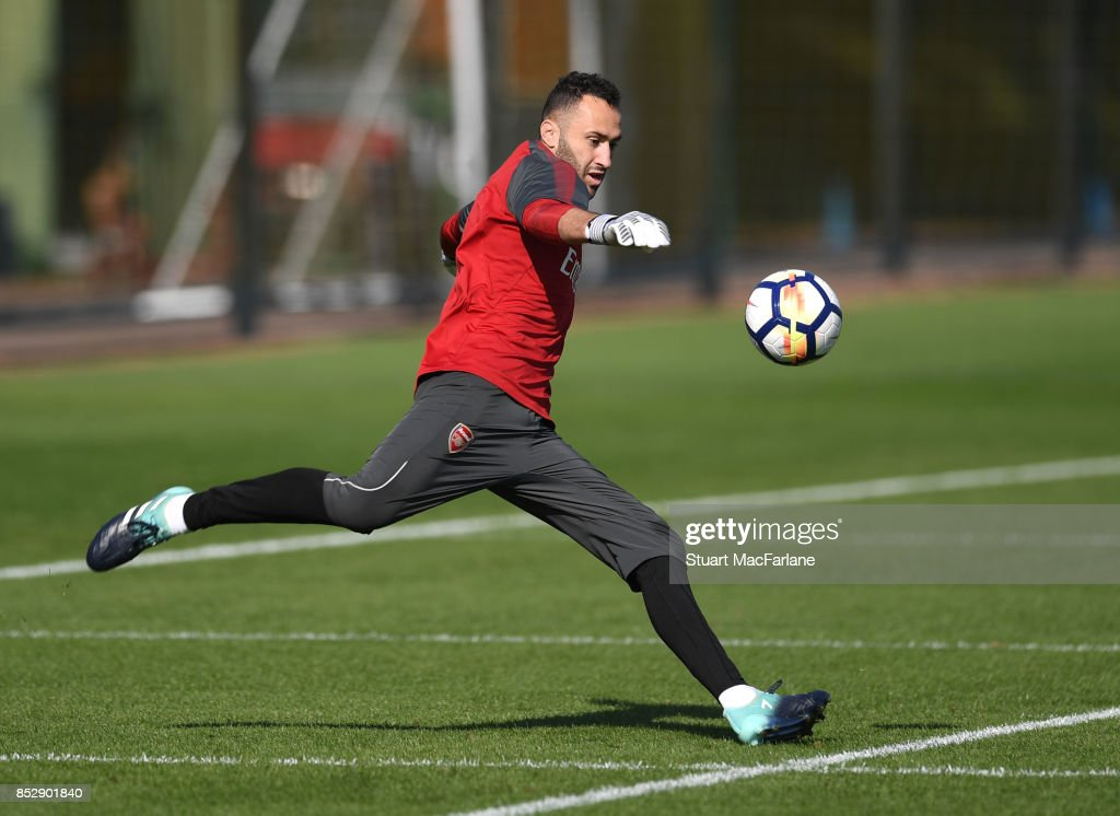 David Ospina of Arsenal during a training session at London Colney on September 24, 2017 in St Albans, England.