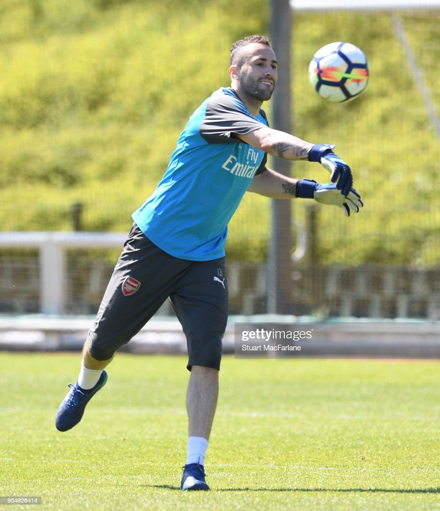 David Ospina of Arsenal during a training session at London Colney on May 5, 2018 in St Albans, England.