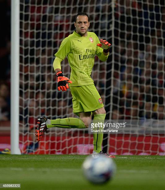 David Ospina of Arsenal during the Capital One Cup Third Round match between Arsenal and Southampton at Emirates Stadium on September 23 2014 in...