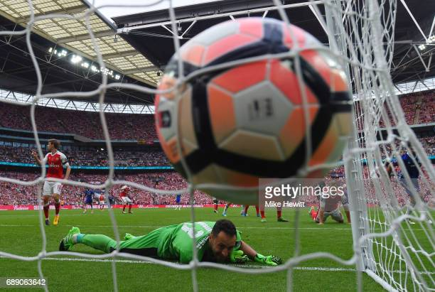 David Ospina of Arsenal fails to stop Diego Costa of Chelsea shot for Chelsea first goal during The Emirates FA Cup Final between Arsenal and Chelsea...