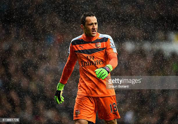 David Ospina of Arsenal looks on in the rain during the Barclays Premier League match between Tottenham Hotspur and Arsenal at White Hart Lane on...