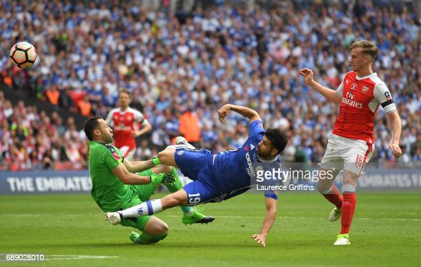 David Ospina of Arsenal makes a save from Diego Costa of Chelsea during The Emirates FA Cup Final between Arsenal and Chelsea at Wembley Stadium on...