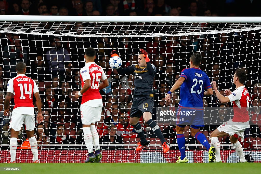 David Ospina of Arsenal scores an own goal during the UEFA Champions League Group F match between Arsenal FC and Olympiacos FC at the Emirates Stadium on September 29, 2015 in London, United Kingdom.