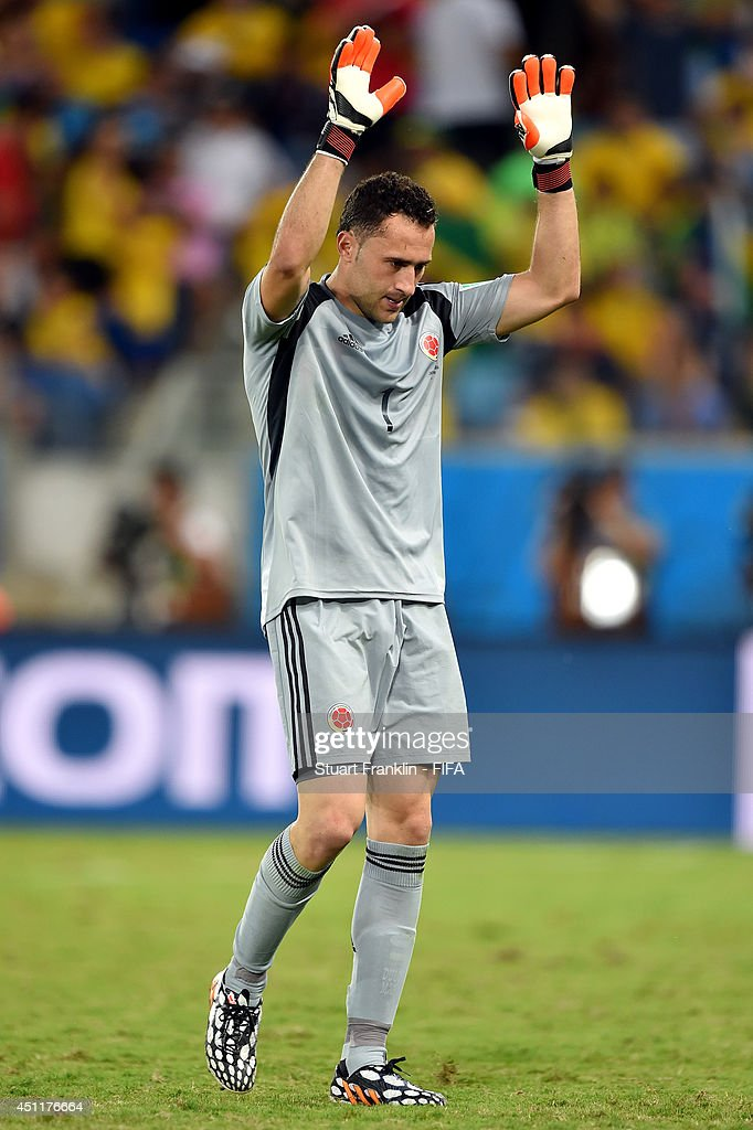 David Ospina of Colombia acknowledges the fans as he is replaced during the 2014 FIFA World Cup Brazil Group C match between Japan and Colombia at Arena Pantanal on June 24, 2014 in Cuiaba, Brazil.