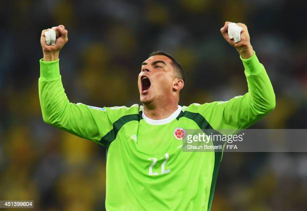 David Ospina of Colombia celeberates the 20 win after the 2014 FIFA World Cup Brazil Round of 16 match between Colombia and Uruguay at Maracana on...