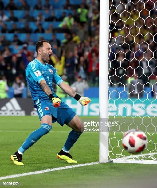 David Ospina of Colombia celebrates after he saves the third penalty from Jordan Henderson in the penalty shoot out during the 2018 FIFA World Cup...