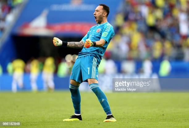 David Ospina of Colombia celebrates after teammate Yerry Mina scores their team's first goal during the 2018 FIFA World Cup Russia group H match...