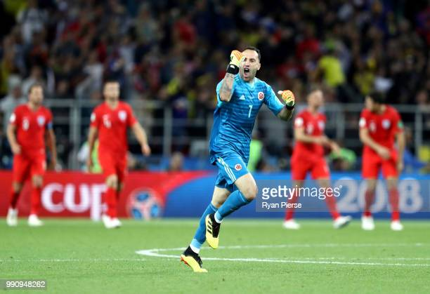 David Ospina of Colombia celebrates after teammate Yerry Mina scores their team's first goal during the 2018 FIFA World Cup Russia Round of 16 match...
