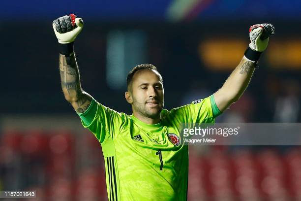 David Ospina of Colombia celebrates after winning during the Copa America Brazil 2019 group B match between Colombia and Qatar at Morumbi Stadium on...