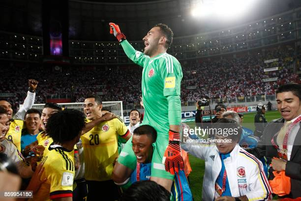 David Ospina of Colombia celebrates with teammates the qualifying to the World Cup Russia 2018 after the match between Peru and Colombia as part of...