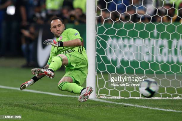 David Ospina of Colombia fails to save the penalty of Alexis Sanchez of Chile during a shootout after the Copa America Brazil 2019 quarterfinal match...