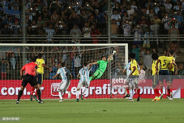 David Ospina of Colombia fails to stop a free kick by Lionel Messi of Argentina during a match between Argentina and Colombia as part of FIFA 2018...