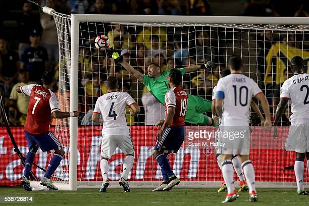 David Ospina of Colombia leaps to block a shot during the second half of a 2016 Copa America Centenario Group A match between Columbia and Paraguay...
