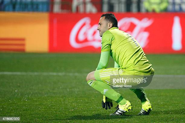 David Ospina of Colombia looks dejected after the 2015 Copa America Chile quarter final match between Argentina and Colombia at Sausalito Stadium on...