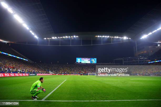David Ospina of Colombia looks on during the penalty shootout following the Copa America Brazil 2019 quarterfinal match between Colombia and Chile at...