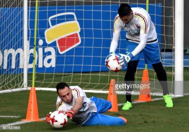 David Ospina of Colombia makes a save during a training session at Autonoma del Caribe University Sports Center on October 03 2017 in Barranquilla...